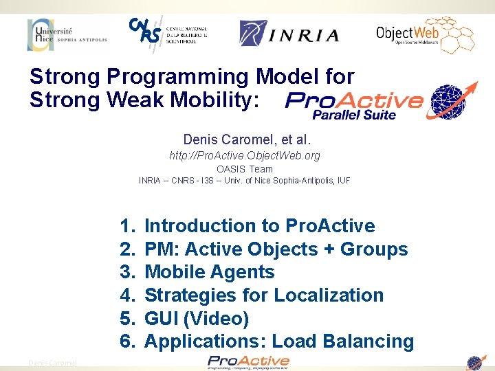 Strong Programming Model for Strong Weak Mobility: Denis Caromel, et al. http: //Pro. Active.