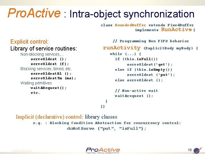 Pro. Active : Intra-object synchronization class Bounded. Buffer extends Fixed. Buffer implements Run. Active