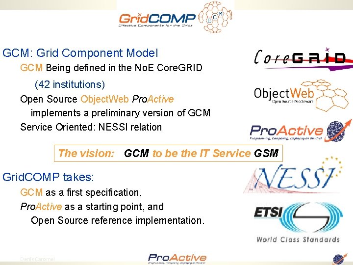 GCM: Grid Component Model GCM Being defined in the No. E Core. GRID (42