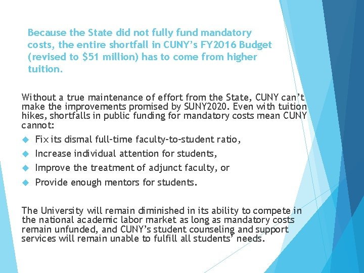 Because the State did not fully fund mandatory costs, the entire shortfall in CUNY's