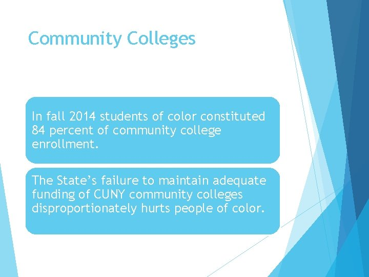 Community Colleges In fall 2014 students of color constituted 84 percent of community college