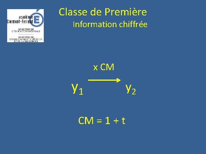 Classe de Première Information chiffrée x CM y 1 y 2 CM = 1