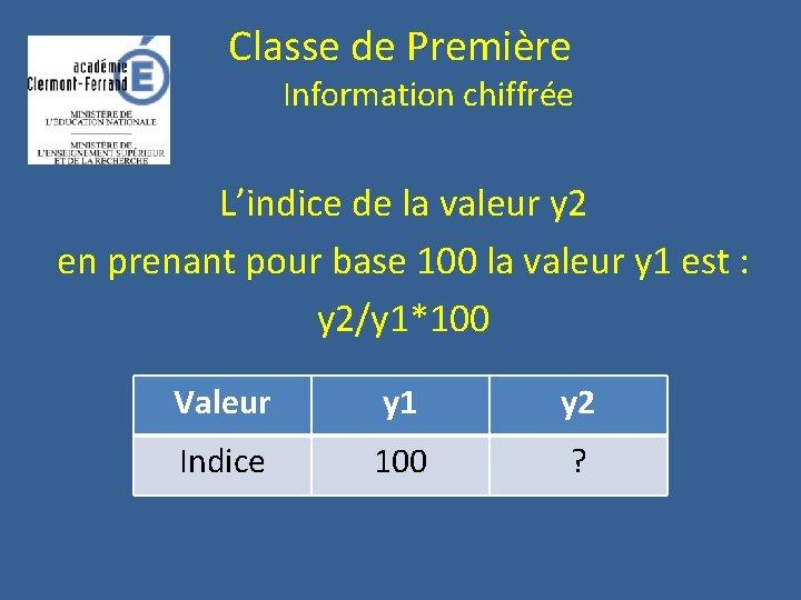 Classe de Première Information chiffrée L'indice de la valeur y 2 en prenant pour