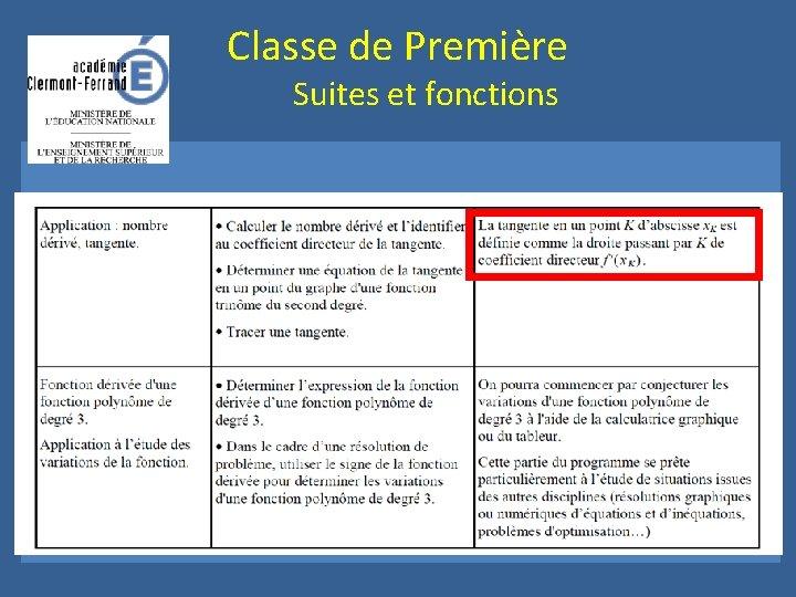 Classe de Première Suites et fonctions