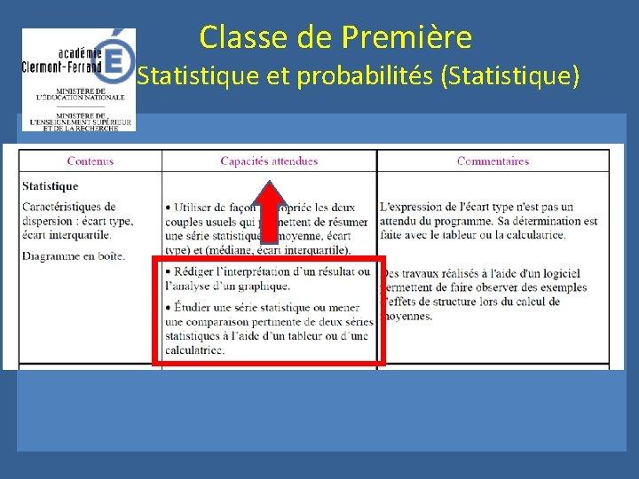Classe de Première Statistique et probabilités (Statistique)