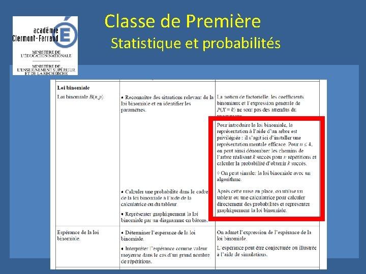 Classe de Première Statistique et probabilités Capacités attendues