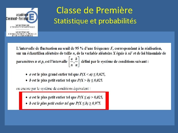 Classe de Première Statistique et probabilités