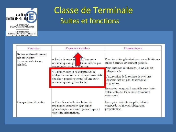 Classe de Terminale Suites et fonctions