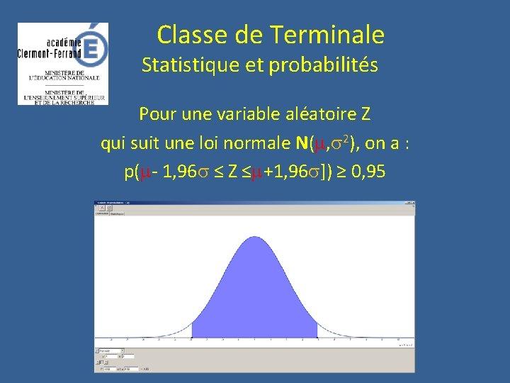 Classe de Terminale Statistique et probabilités Pour une variable aléatoire Z qui suit
