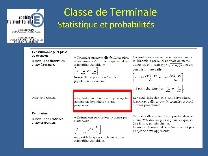 Classe de Terminale Statistique et probabilités