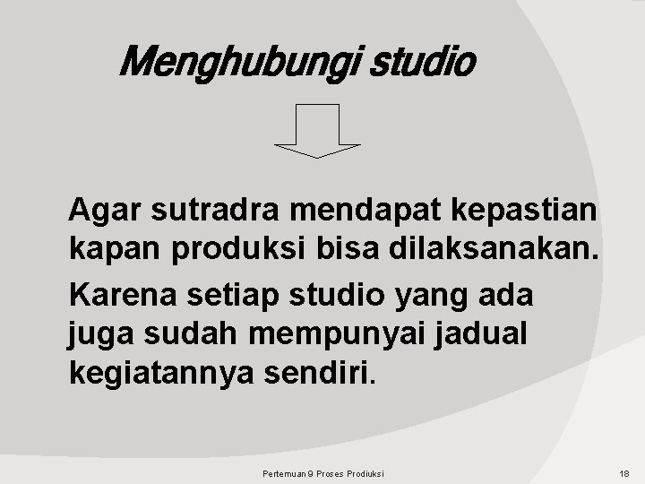 Menghubungi studio Agar sutradra mendapat kepastian kapan produksi bisa dilaksanakan. Karena setiap studio yang