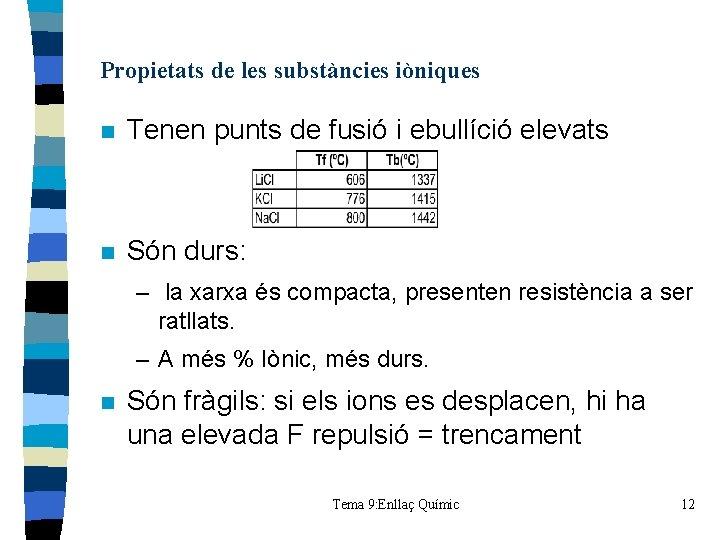 Propietats de les substàncies iòniques n Tenen punts de fusió i ebullíció elevats n