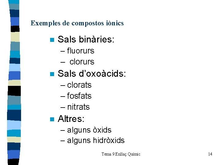 Exemples de compostos iònics n Sals binàries: – fluorurs – clorurs n Sals d'oxoàcids: