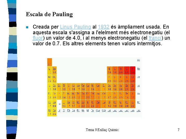 Escala de Pauling n Creada per Linus Pauling al 1932 és àmpliament usada. En
