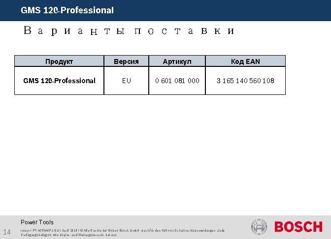 GMS 120 Professional Варианты поставки Продукт Версия Артикул Код EAN GMS 120 Professional EU