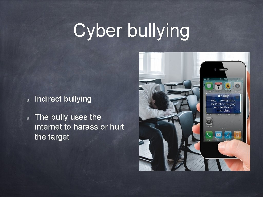 Cyber bullying Indirect bullying The bully uses the internet to harass or hurt the