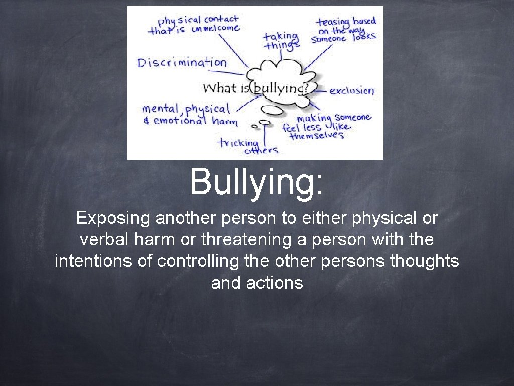 Bullying: Exposing another person to either physical or verbal harm or threatening a person
