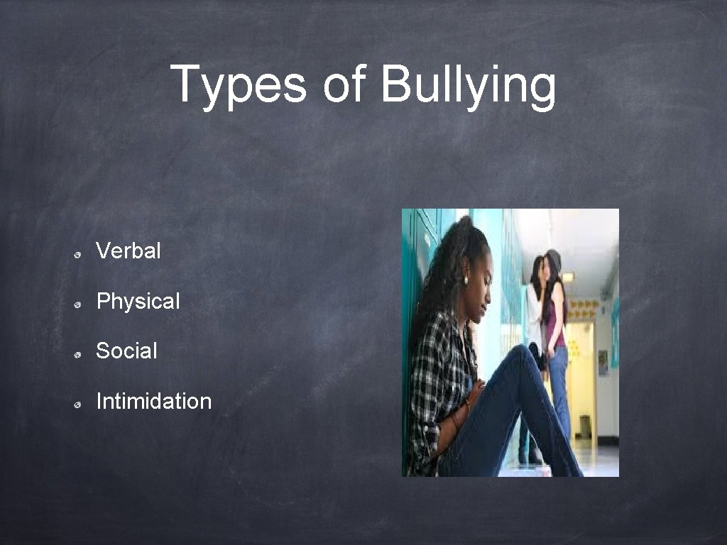 Types of Bullying Verbal Physical Social Intimidation