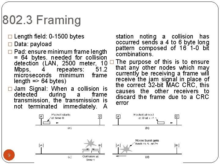 802. 3 Framing � Length field: 0 -1500 bytes � Data: payload � Pad: