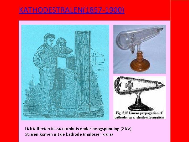 KATHODESTRALEN(1857 -1900) Lichteffecten in vacuumbuis onder hoogspanning (2 k. V), Stralen komen uit de