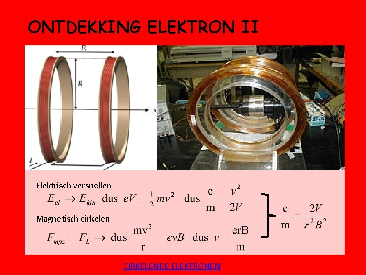ONTDEKKING ELEKTRON II Elektrisch versnellen Magnetisch cirkelen CIRKELENDE ELEKTRONEN
