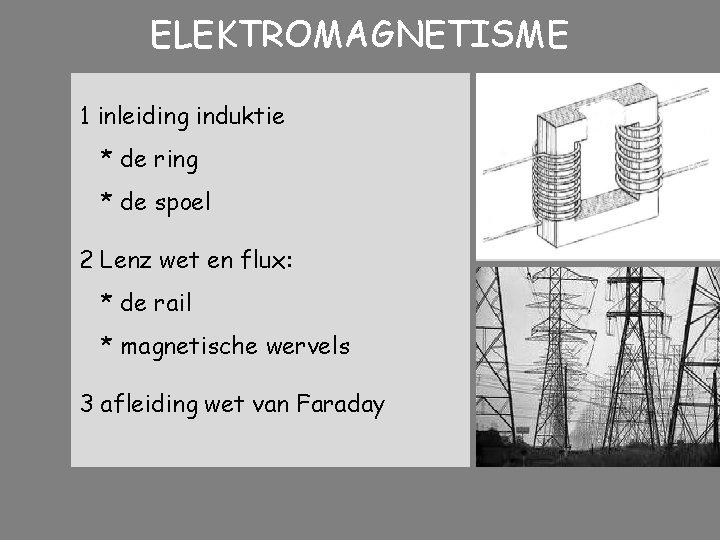 ELEKTROMAGNETISME 1 inleiding induktie * de ring * de spoel 2 Lenz wet en