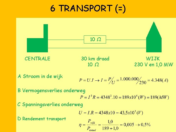 6 TRANSPORT (=) 10 Ω CENTRALE 30 km draad 10 Ω A Stroom in
