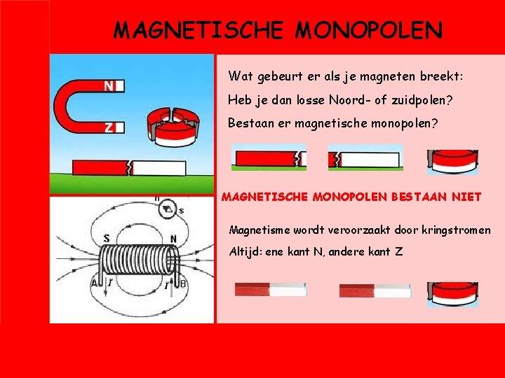 MAGNETISCHE MONOPOLEN Wat gebeurt er als je magneten breekt: Heb je dan losse Noord-