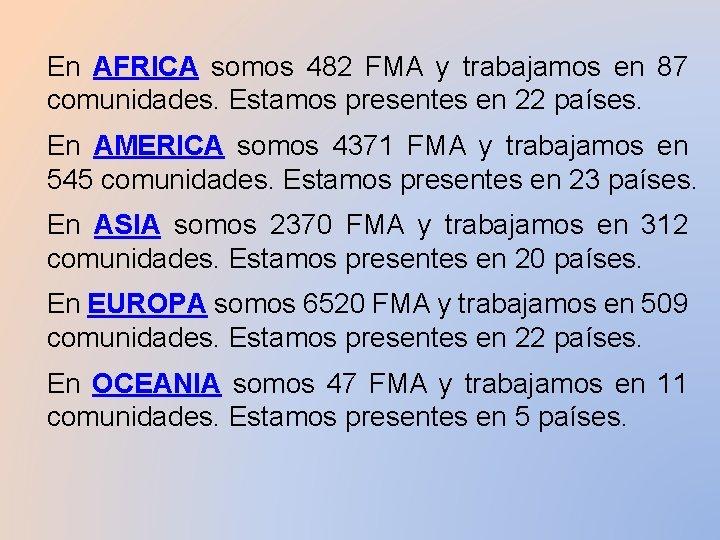 En AFRICA somos 482 FMA y trabajamos en 87 comunidades. Estamos presentes en 22