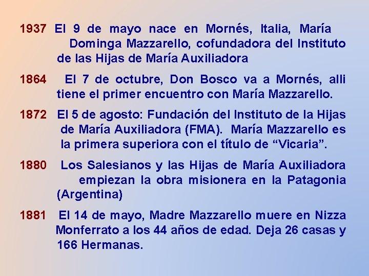1937 El 9 de mayo nace en Mornés, Italia, María Dominga Mazzarello, cofundadora del