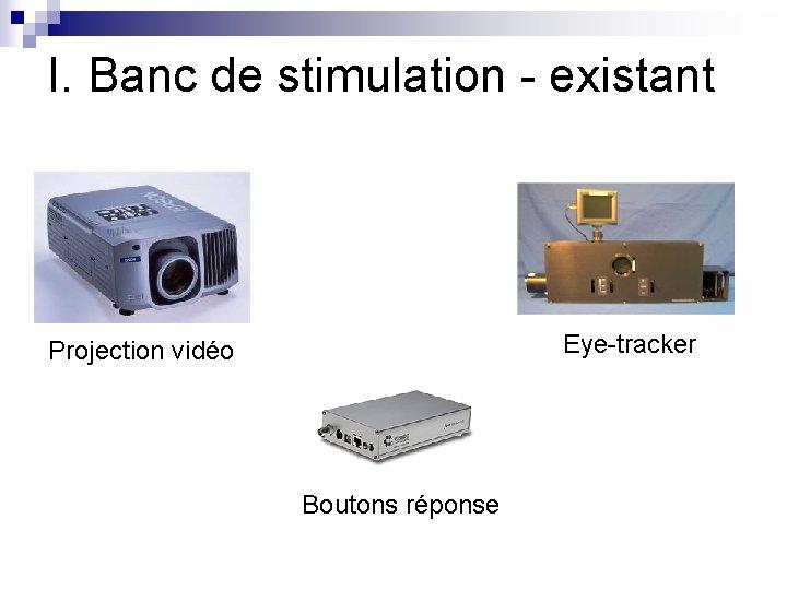 I. Banc de stimulation - existant Eye-tracker Projection vidéo Boutons réponse