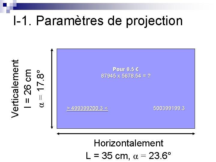 Verticalement l = 26 cm α = 17. 8° I-1. Paramètres de projection Pour