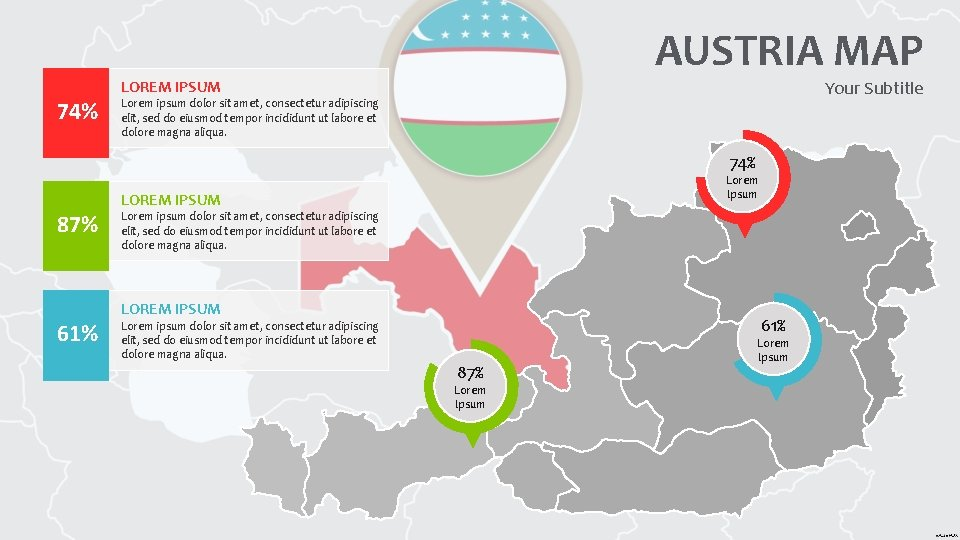 74% AUSTRIA MAP Your Subtitle LOREM IPSUM Lorem ipsum dolor sit amet, consectetur adipiscing