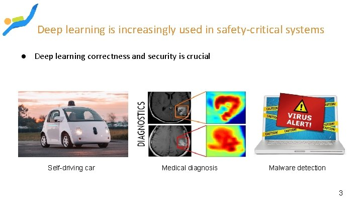 Deep learning is increasingly used in safety-critical systems ● Deep learning correctness and security