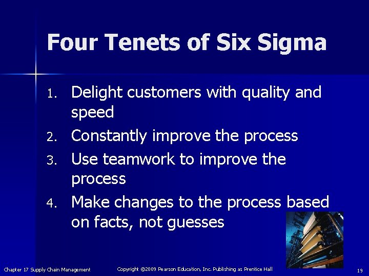 Four Tenets of Six Sigma 1. 2. 3. 4. Delight customers with quality and