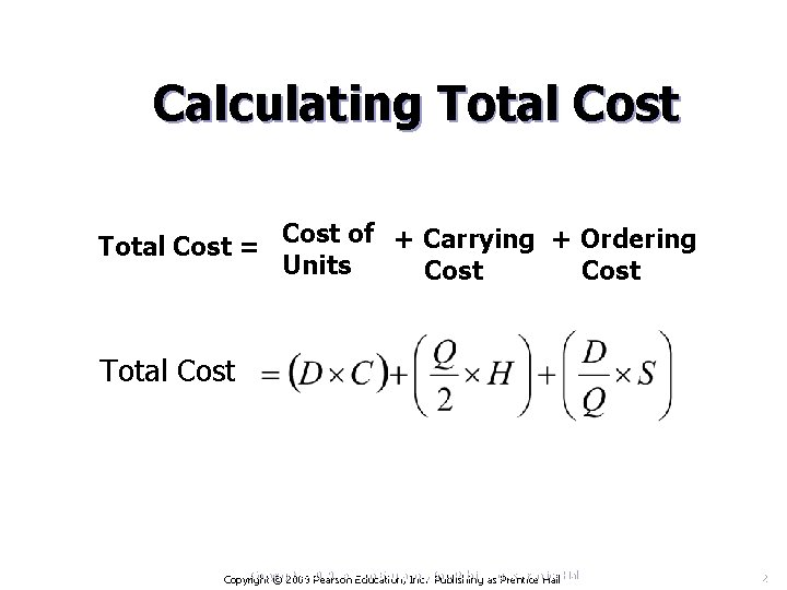 Calculating Total Cost = Cost of + Carrying + Ordering Units Cost Total Cost