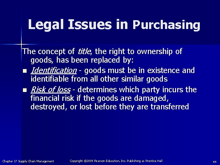 Legal Issues in Purchasing The concept of title, the right to ownership of goods,
