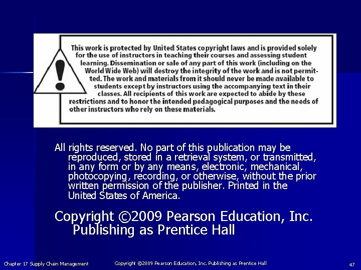 All rights reserved. No part of this publication may be reproduced, stored in a