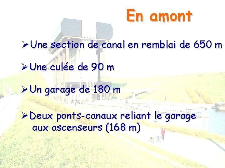 En amont ØUne section de canal en remblai de 650 m ØUne culée de