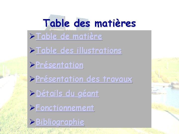 Table des matières ØTable de matière ØTable des illustrations ØPrésentation des travaux ØDétails du