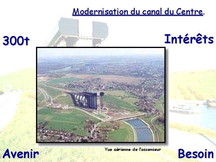 Modernisation du canal du Centre. Intérêts 300 t Avenir Vue aérienne de l'ascenseur Besoin