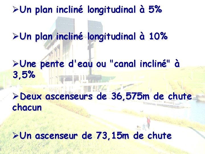 ØUn plan incliné longitudinal à 5% ØUn plan incliné longitudinal à 10% ØUne pente