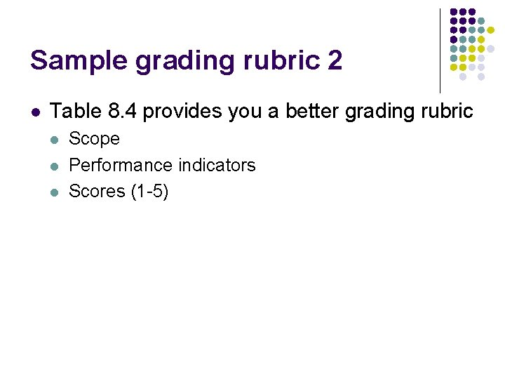 Sample grading rubric 2 l Table 8. 4 provides you a better grading rubric