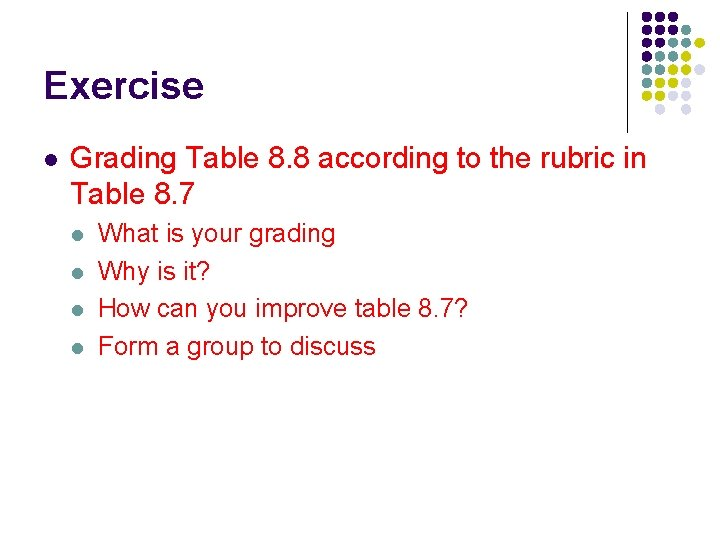 Exercise l Grading Table 8. 8 according to the rubric in Table 8. 7