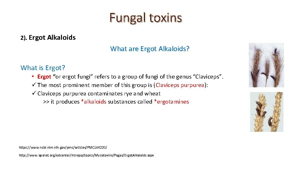 Fungal toxins 2). Ergot Alkaloids What are Ergot Alkaloids? What is Ergot? • Ergot