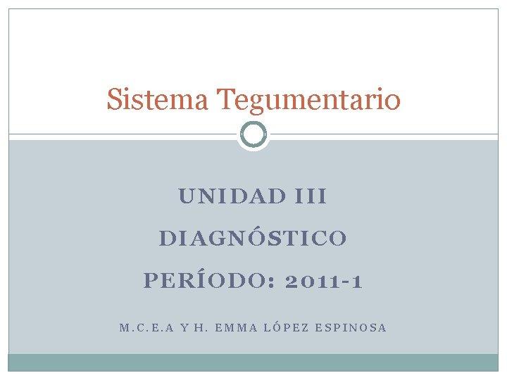 Sistema Tegumentario UNIDAD III DIAGNÓSTICO PERÍODO: 2011 -1 M. C. E. A Y H.