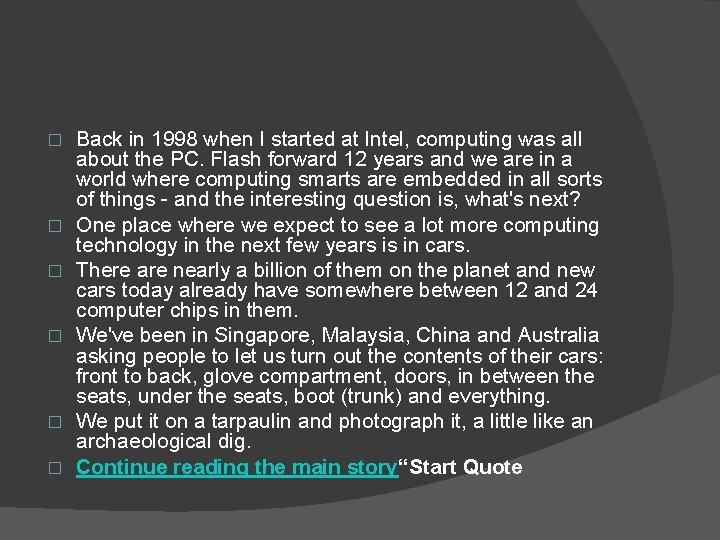 � � � Back in 1998 when I started at Intel, computing was all