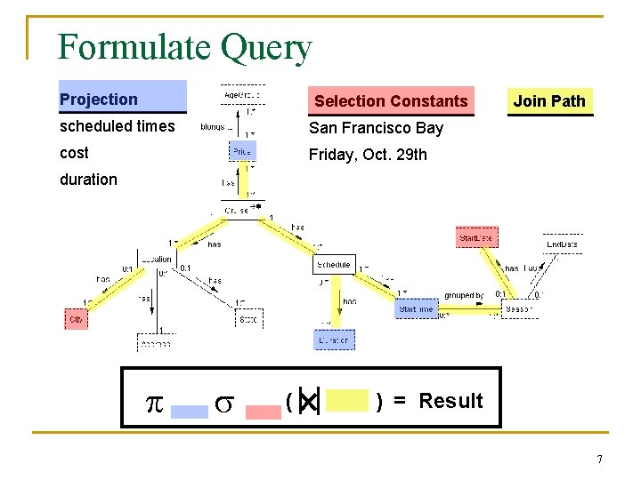 Formulate Query Projection Selection Constants scheduled times San Francisco Bay cost Friday, Oct. 29
