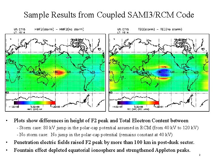 Sample Results from Coupled SAMI 3/RCM Code • Plots show differences in height of