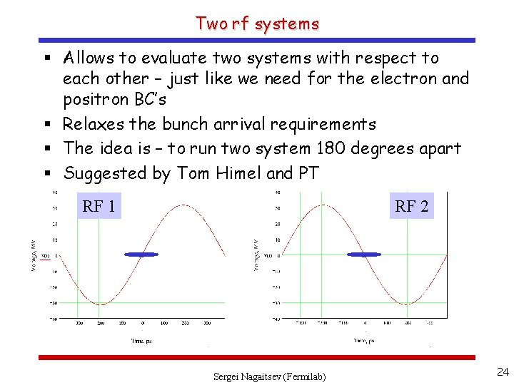 Two rf systems § Allows to evaluate two systems with respect to each other